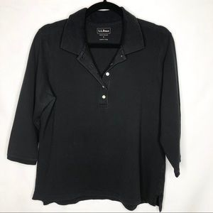 LL Bean Slightly Fitted Stretch 3/4 Sleeve Polo